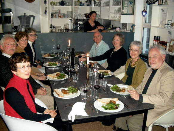 The smugglers meeting in Good Things Café. Marian Joyce, Jerry Greiner, Pat Joyce Tuszl, Caroline Crowley, Martin Murphy, Susan Shearer, Susan Lithgoe and George Lithgoe